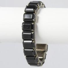 Chunky Black Stretch Cuff Bracelet Jewelry Vtg