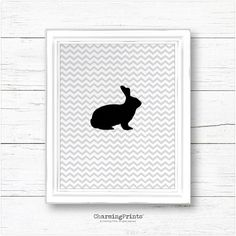 Bunny print, printable, bunny art, bunny wall art, rabbit, bunny art, grey, chevron, minimalist, downloadable, silhouette, home decor