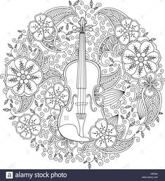 Coloring Books for Adults - Mosaic Music: Featuring 30 Stress Relieving Designs of Musical Instruments Pattern Coloring Pages, Free Printable Coloring Pages, Coloring Book Pages, Coloring Sheets, Name Wallpaper, Wallpaper Wallpapers, Violin Tattoo, Free Adult Coloring, Ideas
