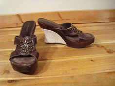Women Matisse Brown Leather Wedge Platforn Espadrille Shoes 8 M Open Toe | eBay