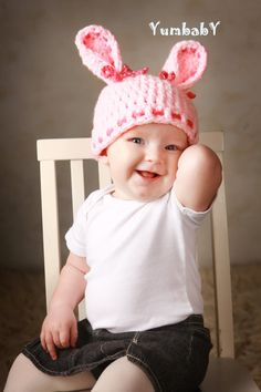 Adorable pink Easter bunny hat!  by YumbabY #easterclothes #bunnyhats