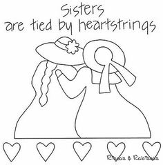 Sister are tied by heartstrings stitchery Hand Embroidery Patterns, Applique Patterns, Vintage Embroidery, Applique Quilts, Embroidery Applique, Embroidery Stitches, Quilt Patterns, Embroidery Designs, Broderie Primitive