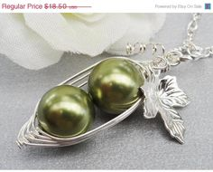 ON SALE Peas In A Pod Necklace 23 Or 4 Peas by ThePeasInAPodShop, $16.65