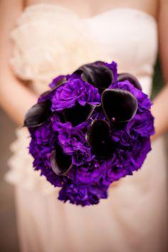 Deep purple wedding bouquet - might look black, but still bright purple in it