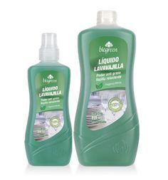 Líquido Lavavajilla Menta 100% BIODEGRADABLE  Su exclusiva fórmula concentrada provee un gran poder limpiador y desengrasante, incluso en altas diluciones, cuidando también la piel de las manos.   Presentación: 300 ml y 800 ml.
