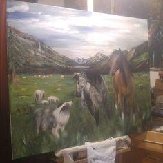 Work in progress. Now working on my horses.  #artist #artistsoninstagram #horses #painting #paintinoils