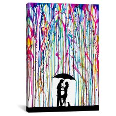 """Two Step by Marc Allante Canvas Print (26""""x 18""""), Pink Blue Yellow Black"""