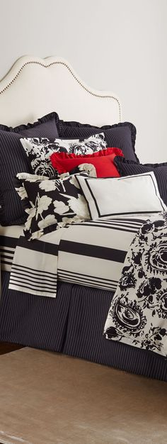 Ralph Lauren. Thin stripe, large stripe, 2 florals, all tied together with B&W.