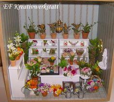 MINIATUR Blumenladen 30 x 30 x 20 cm mit Beleuchtung