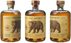 Lost Republic Bourbon on Packaging of the World - Creative Package Design Gallery Whiskey Label, Bourbon Whiskey, Whiskey Bottle, Bulleit Bourbon, Scotch Whisky, Dry Creek, Brand Packaging, Packaging Design, Bottle Packaging