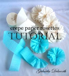 Crepe paper rosettes are a great way of saving those pieces of paper and ribbon you might have around your craft room or studio.  You can wear them as a funky brooch, as a spring decoration, as a gift topper...