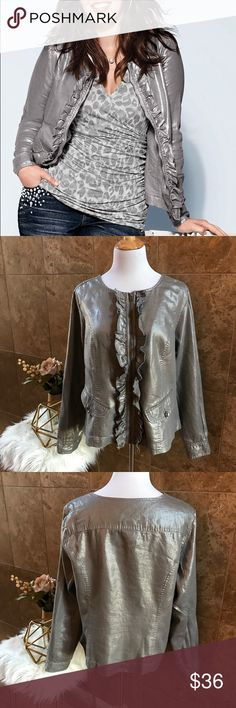 "Metallic Silver Ruffled Placket Jacket, Size 18 EUC  Metallic Silver Ruffled Placket Jacket from Lane Bryant, Size 18  Casual Chic or Dressed Up!  💎	Metallic Silver w/ Pewter Zipper & Buttons 💎	Ruffle on each side of zipper 💎	Round collar, 2 faux pockets 💎	54% linen/46% cotton 💎 	No rips, holes, or stains  💎	Measurements (Laid Flat): 	Armpit to Armpit: 23.5"" 	Back of Neck to Bottom of Hem: 22.5""  	Sleeve Length: 24.5""  💎	Reasonable offers will be considered 🚫	PLEASE, NO LOWBALLING…"
