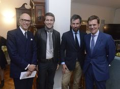 Dylan Jones (British GQ), David Neville (rag & bone), Nick Sullivan (Esquire) & Duncan Edwards (Hearst) at a cocktail reception hosted by Danny Lopez, HM Consul General in New York, to celebrate British menswear and to announce the Show Schedule for London Collections: Men