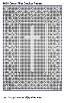 Item 1058 Cross with border filet crochet doily table mat pattern | CROCHETBYDASMADE - Patterns on ArtFire