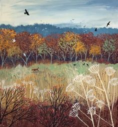Print on paper of an English landscape in autumn with fox and birds from an original acrylic painting 'Burnished Gold' by Jo Grundy Art And Illustration, Illustrations, Canvas Artwork, Canvas Prints, Art Prints, Landscape Art, Landscape Paintings, Principe William Y Kate, Gold Canvas