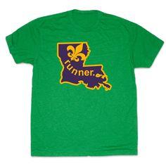 Mens Lifestyle Runners Tee Louisiana Runner (Purple/Gold) | Running Mens Cotton Tshirts