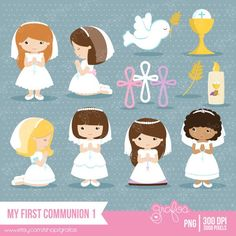 Shop for on Etsy, the place to express your creativity through the buying and selling of handmade and vintage goods. First Communion Party, First Holy Communion, Communion Hairstyles, Pretty Drawings, Cute Clipart, Baptism Invitations, Handmade Birthday Cards, Print And Cut, Christening