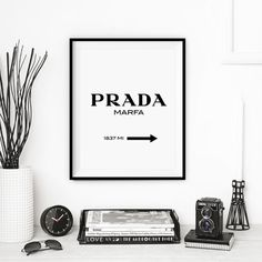 Fashion Art Prada Marfa Wall Decor Typography Print Printed on quality matte archival paper with archival inks. It is available in a variety