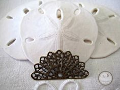 SAVE 10% use coupon code PIN10 Vintage look antique oxidized #brass #filigree fan, great for many different jewelry designs.  Quantity: 1  Size: 31x12mm    ITEM#: FDFL7-V3-15    Please stop by my other Ets...