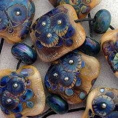 'DSG Beads' Handmade OrGaNiC Lampwork Glass Bead Set ~Blue Winds~ eBay<3<3<3