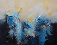 """""""Cabalgando sobre el mar"""" - Lidia Solanot - Técnica mixta - 80 x 100 cm www.esencialismo.com"""