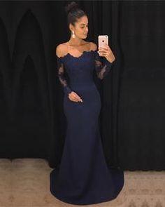 4d742c9af2c39 Lace Long Sleeves Off Shoulder Mermaid Bridesmaid Dresses