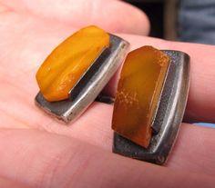 Natural Baltic Amber 10 gr cufflinks 老琥珀 yellow USSR Russia silver 875 antique #Handmade