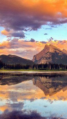 Mountain Lake Sunset Nature Summer #iPhone #5s #wallpaper