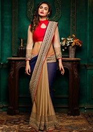 Wedding Wear Brown Georgette Embroidered Work Saree