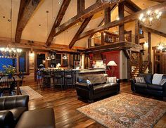 rustic open floor plan, love the size and location of the loft.