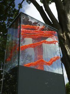 Floating Series #3 Anna Glasbrook #outdoorsculpture #designUK annaglasbrook.com orange stitch transparent
