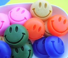 Smiley Face Mini Soaps by SunbasilgardenSoap - cute!