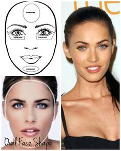 Ova face shape is actually the ideal face shape since it is proportioned equally. The oval face shape has a curvilinear shape, which means its length is equal to one and a half times its width, with forehead and jaw the same width. So think of the oval face shape as an egg shape.  Oval Shapes are the 'perfect' face shape since you don't need to contour much since the face is already symmetrical. You can just highlight the under eyes, chin area, and the forehead.