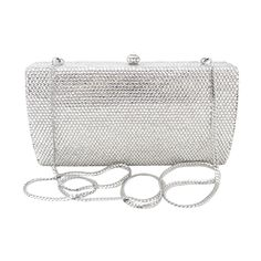 This Anthony David crystal clutch evening purse has a solid metal frame with a silver electroplated finish. The metal body is fully covered with hand-set clear Swarovski crystals. You can carry thi...