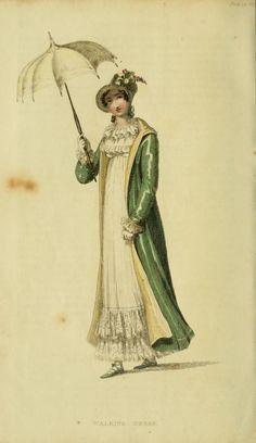 Fashion Plate (Walkling Dress): Rudolph Ackermann (England, London, 1764-1834), Series 1 Vol 13: May 1815, English, hand-coloured engraving on paper.