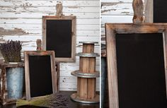 Rustic Paddle Shaped Chalkboard. Use an unfinished frame and cut paddle shape out of pine. Glue and attach it!