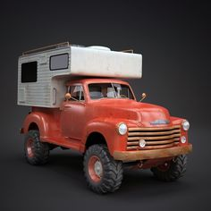 Vintage Camper Truck Vehicles 3D Models