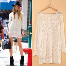 2014 Fashion Womens Sexy Lace Crochet Long Sleeve Casual Mini Party Short Dress