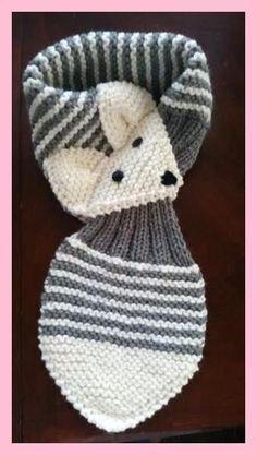 Allungare i bambini /Toddler regolabile Fox di QuiltNCrochet schals stricken Stretch Kids /Toddler Adjustable Fox Stripe Scarf Hand Knit scarf / Neck warmer Teal or Gray Baby Knitting Patterns, Knitting For Kids, Loom Knitting, Knitting Projects, Crochet Projects, Hand Knitting, Fox Scarf, Baby Scarf, Crochet Edgings