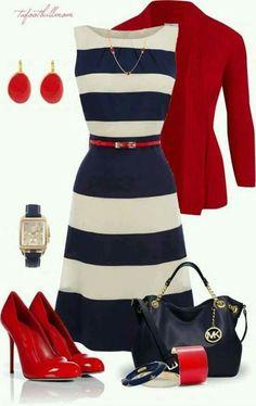 Azul marino con blanco y rojo