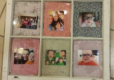 A repurposed old window is now a picture frame