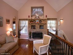 Great Room of The Ives House Plan 1075 - Decorative ceilings create dimension in the great room, dining room and master bedroom http://www.dongardner.com/images.aspx?pid=2902&fn=interiors\1075great.jpg #LivingRoom #Home #Design