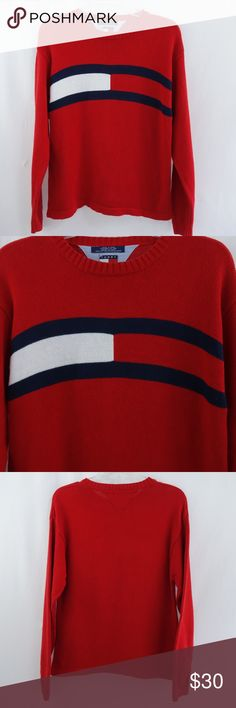 d97d70d541d1 Tommy Hilfiger Large Flag Red Pullover Sweater This is a Tommy Hilfiger  pullover large flag red