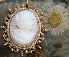 Cameo Pendant Brooch 14K Gold Seed Pearl Conch-Shell – Yourgreatfinds