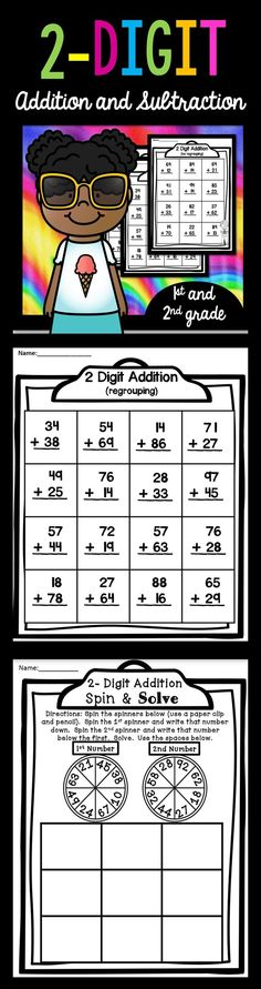 2 Digit Addition & Subtraction - Use these printable worksheets to help your 1st, 2nd, and 3rd grade classroom or home school students get some extra practice. These work great to just print and go! No prep! Great for review, assessment, early or fast finishers, math centers or stations, morning work, seat work, homework, and more. {first, second, third graders - math, basic operations, adding, add, subtract, subtracting, arithmetic, with & without regrouping}