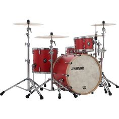 Sonor SQ1 3-Piece Shell Pack with 24 in. Bass Drum Hot Rod Red