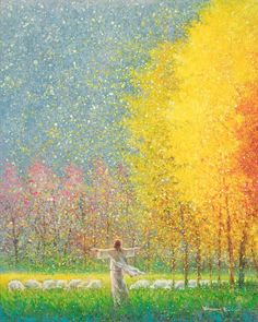 original artwork painting jesus christ standing in a field with sheep orange pink yellow trees outstretched arms looking toward heaven Paintings Of Christ, Jesus Christ Painting, Jesus Art, Yellow Tree, Orange Pink, Pictures Of Jesus Christ, Lds Art, Prophetic Art, Biblical Art