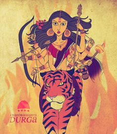 The third facet of Goddess Durga is 'Chandraghanta', who is worshipped on the third day of Navaratri, for peace, tranquility and prosperity in life. She is endowed with intense anger and violence, and. Lord Durga, Durga Kali, Durga Puja, Durga Goddess, Lord Krishna, Indiana, Maa Durga Image, Durga Painting, Indian Artwork