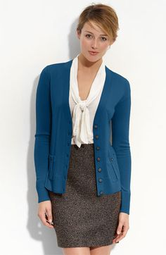 "I love this ""secretarial"" look!  Halogen® Merino Wool V-Neck Cardigan"