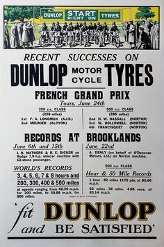 images of british grand prix posters | British: Dunlop Tyres 1923 Victory Poster for French Grand Prix and ...